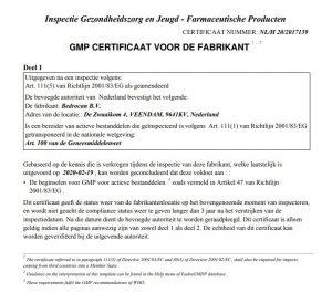 GMP certificate Bedrocan