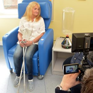 Patient looking at medical vaporizer